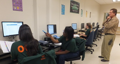 Access2online coordinator Peter Shikli and three inmates working on a task