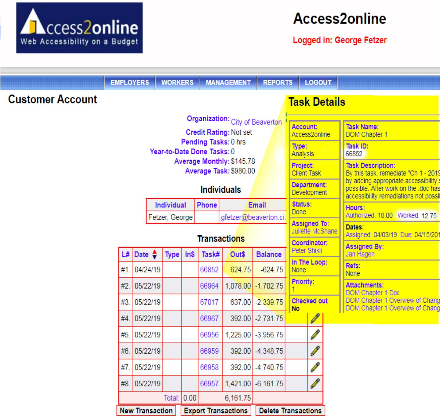 Screenshot of a customer account summary showing a list of dates, task numbers, costs and balances with an option to edit each individual task.